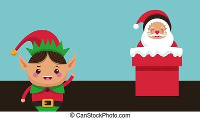 Santa claus and elf HD animation - Santa claus in chimney...