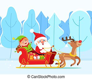 Santa Claus and Elf Riding Sleigh, Christmas Time
