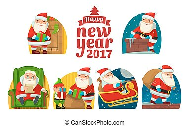 Santa Claus and elf. Set flat vector illustration