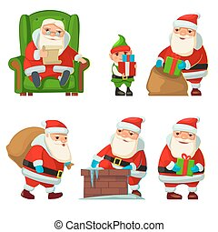 Santa Claus and elf.