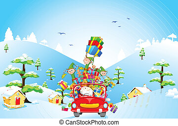 Santa Claus and Elf with Christmas gift - illustration of...
