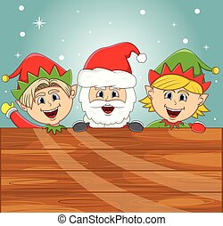 Santa claus and elf with wood plank sign for your massage -...