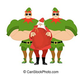 Santa Claus and elves bodyguards. Christmas Santa and guards. Protecting gifts for new year. Defender gifts for children. Big strong elf Santas helper