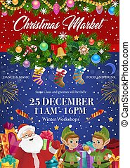 Santa Claus and elves, Christmas festive market