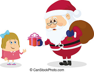 Santa Claus and girl