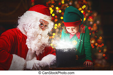 Santa Claus and helper child elf with bright magical gift in Christmas