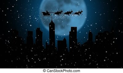 Santa Claus and his deer flying in the sky merry chrisrmas animation . Silhouette