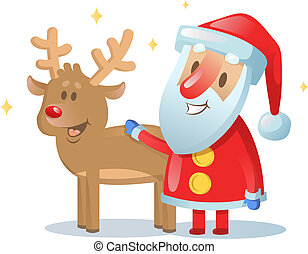 Santa Claus and his reindeer friend smiling. Cartoon Christmas card. Flat vector illustration. Isolated on white background.