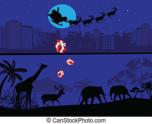 Santa Claus and his reindeer sleigh