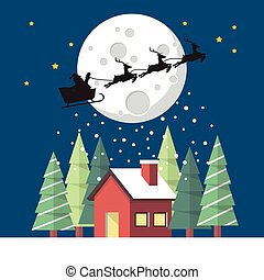 Santa Claus and his reindeer sleigh in silhouette against moon with winter house