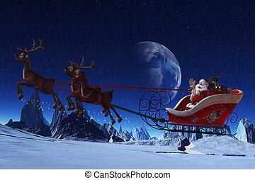 Santa Claus and his Reindeers - Santa Claus is flying in his...