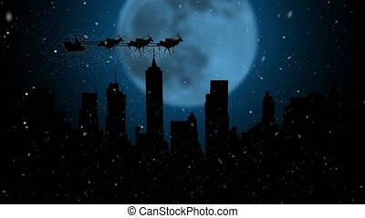 Santa Claus and his reindeers flying in the sky. Silhouette