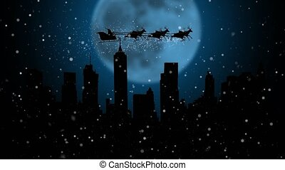 Santa Claus and his sleigh flying in the sky happy new year animation . Silhouette