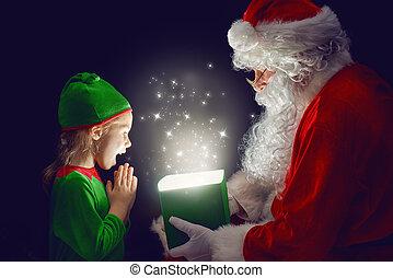 Santa Claus and little girl - Cute little girl and Santa...