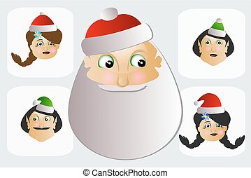 Santa Claus and Mrs.    elves is button, key, pushbutton