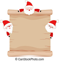 santa claus and parchment sign funny