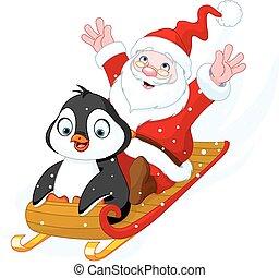 Santa Claus and Penguin - Illustration of Santa Claus and...