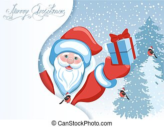 Santa Claus and poster in the form of a snowdrift for advertise discounts, sales or an invitation to celebrate ?hristmas.