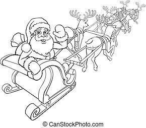Santa Claus and Reindeer Christmas Sleigh Sled