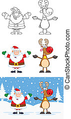Santa Claus And Reindeer Collection