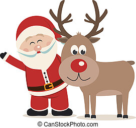 santa claus and reindeer isolated background