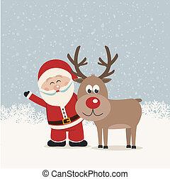 santa claus and reindeer snowy background