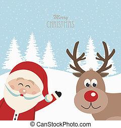 santa claus and reindeer snowy