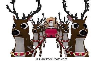 Santa Claus and reindeer - image of Christmas