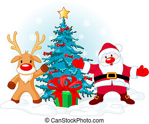 Santa Claus and Rudolph - Illustration of a Santa Claus with...