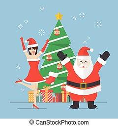 Santa claus and Santa woman with christmas tree