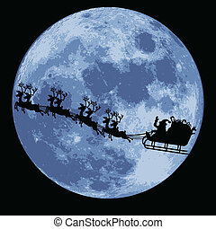 santa claus and sleigh - illustrations of santa claus with...