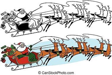 Santa Claus and Sleigh - Santa Claus rides across the sky on...