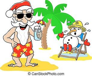 santa claus and snowman at christmas on vacation at the beach