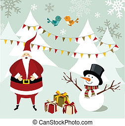 Santa Claus and Snowman Christmas card.