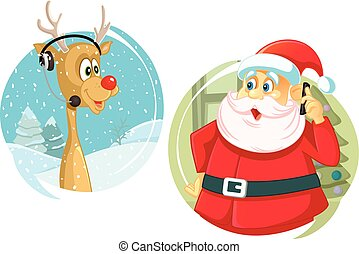 Santa Claus and the Reindeer Talking on The Phone Vector.eps...