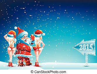 Santa Claus and two girls standing in the snow with a thumbs up