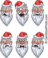 Santa Claus angry emotions set