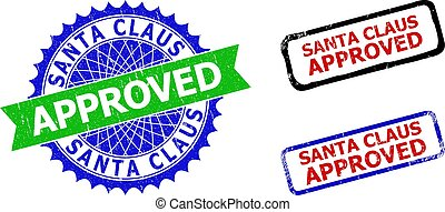 SANTA CLAUS APPROVED Rosette and Rectangle Bicolor Watermarks with Corroded Surfaces