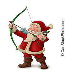 Santa Claus archer - White background - Santa Claus archer...