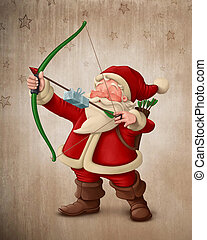 Santa Claus archer with the gift on the arrow