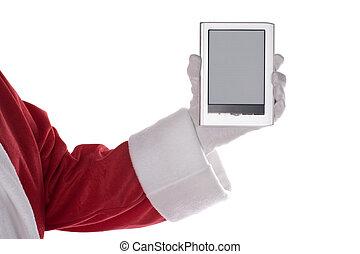 Santa Claus arm with E-Book