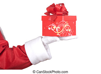 Santa Claus arm with present