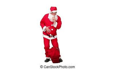 Santa Claus arriving - Santa Claus arraving against a white...