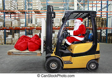 Santa Claus as a forklift operator