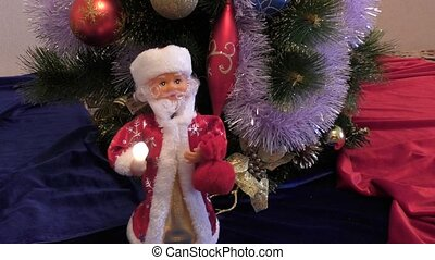 Santa Claus at Christmas trees