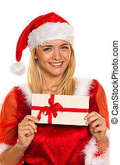 Santa Claus at Christmas with gifts.