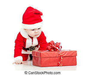 Santa Claus baby with gift box isolated on white background