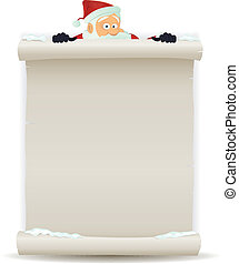 Illustration of a cartoon Santa claus character pointing white parchment sign for christmas holidays and children gift list