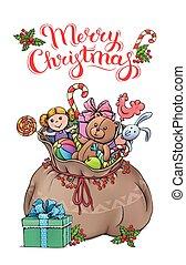 Santa Claus bag with gifts Christmas card
