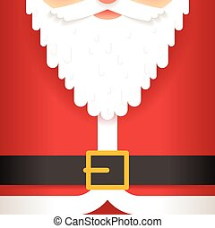 Santa Claus beard belt greating card template flat design...